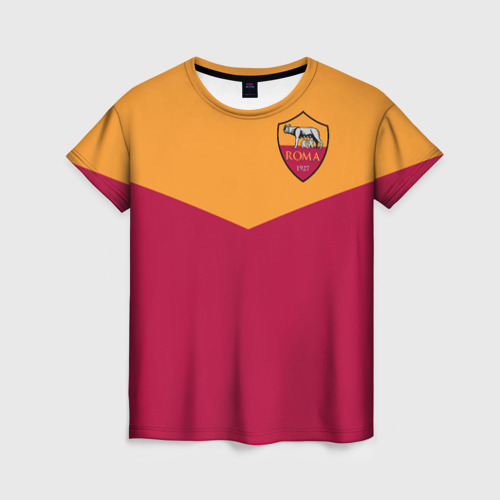 Женская футболка 3D A S Roma - Yellow and Red