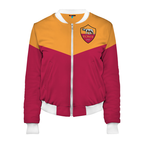Женский бомбер 3D A S Roma - Yellow and Red