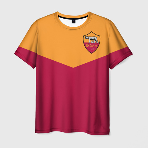 Мужская футболка 3D A S Roma - Yellow and Red
