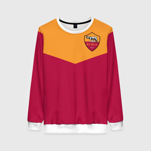 Женский свитшот 3D A S Roma - Yellow and Red