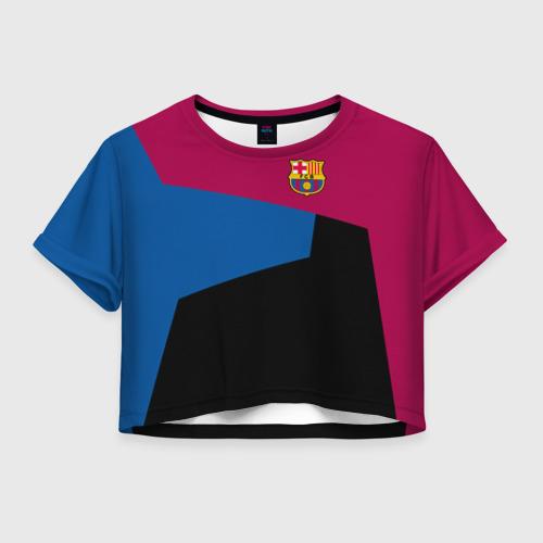 Женская футболка Crop-top 3D FC Barcelona 2018 5