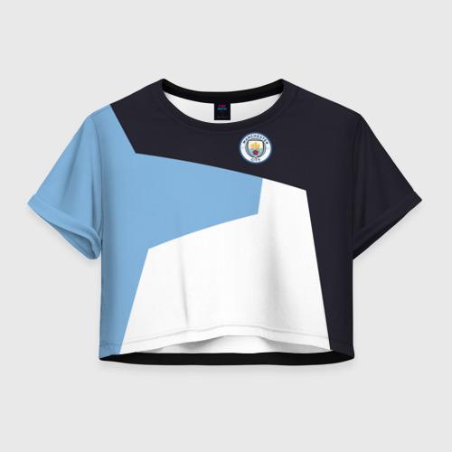 Женская футболка Crop-top 3D Manchester city 2018 4