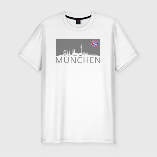 Мужская футболка хлопок Slim Bayern Munchen - Munchen City grey (2018)