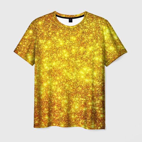Мужская футболка 3D Золотой блеск