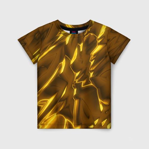 Детская футболка 3D Золотые разводы