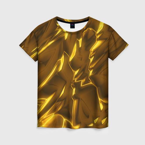 Женская футболка 3D Золотые разводы