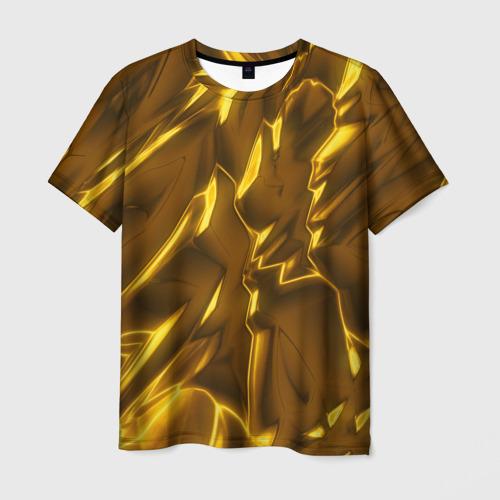 Мужская футболка 3D Золотые разводы