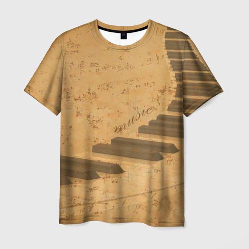Мужская футболка 3D Клавиши пианино