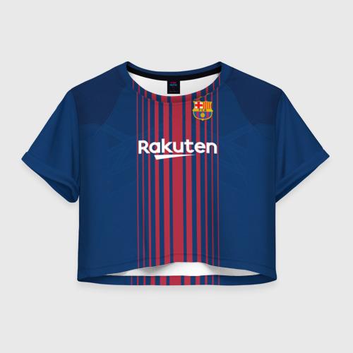 Женская футболка Crop-top 3D Неймар Форма Барселона 2018