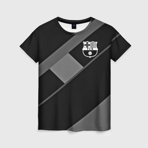 Женская футболка 3D FC Barcelona gray collection