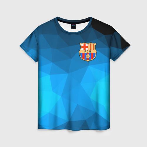 Женская футболка 3D FC Barcelona polygon 2018
