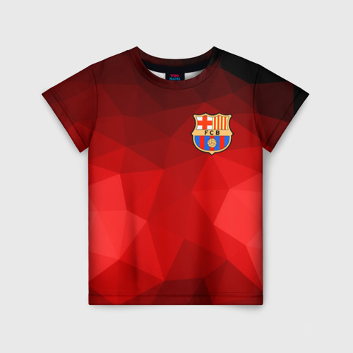 Детская футболка 3D FC Barcelona red polygon 2018