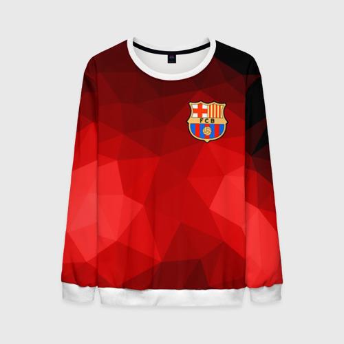 Мужской свитшот 3D FC Barcelona red polygon 2018