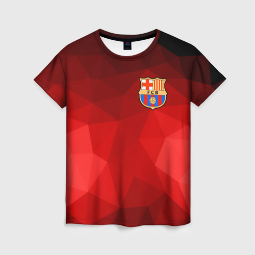 Женская футболка 3D FC Barcelona red polygon 2018