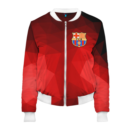 Женский бомбер 3D FC Barcelona red polygon 2018