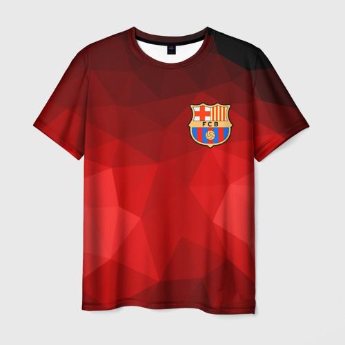 Мужская футболка 3D FC Barcelona red polygon 2018