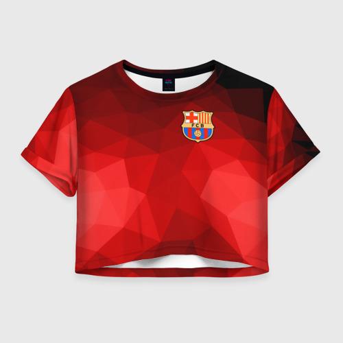 Женская футболка Crop-top 3D FC Barcelona red polygon 2018