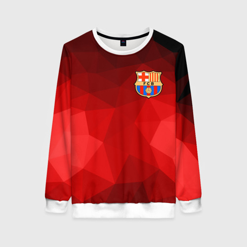 Женский свитшот 3D FC Barcelona red polygon 2018