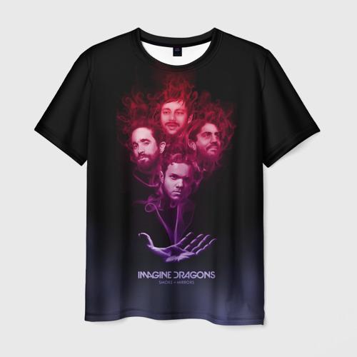 Мужская футболка 3D Группа Imagine Dragons, дым
