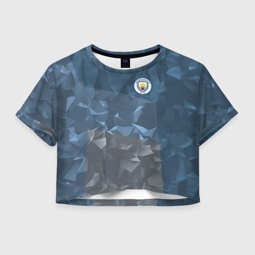 Женская футболка Crop-top 3D Manchester city 2018 Abstract