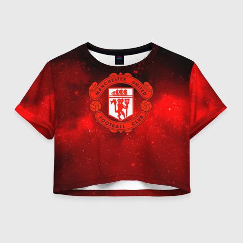 Женская футболка Crop-top 3D FC Манчестер