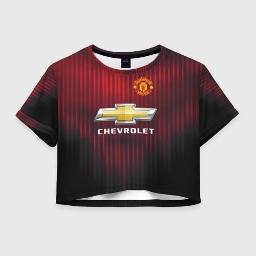 Женская футболка Crop-top 3D Manchester United 2018 red
