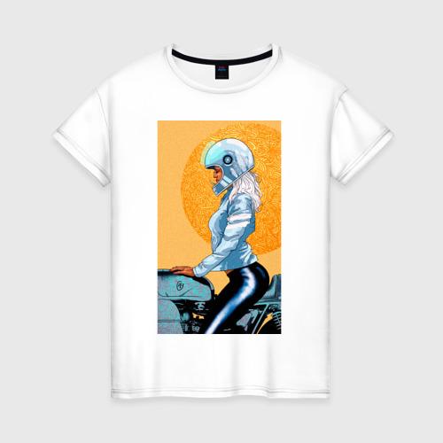 Женская футболка хлопок Байкерша