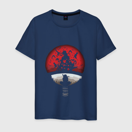 Мужская футболка хлопок Итачи в позе ниндзя на фоне луны