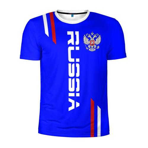 Мужская футболка 3D спортивная Russia надпись и герб