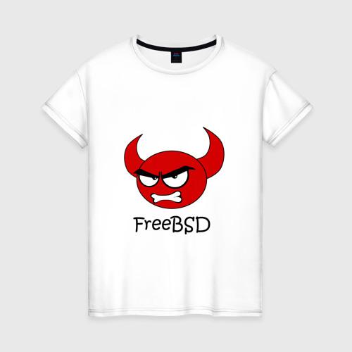 Женская футболка хлопок FreeBSD демон
