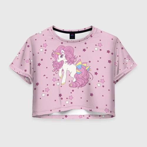 Женская футболка Crop-top 3D Единорог,