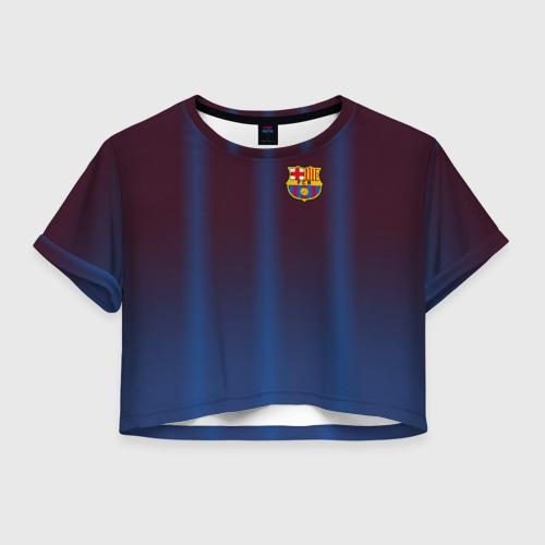 Женская футболка Crop-top 3D FC Barcelona Gradient