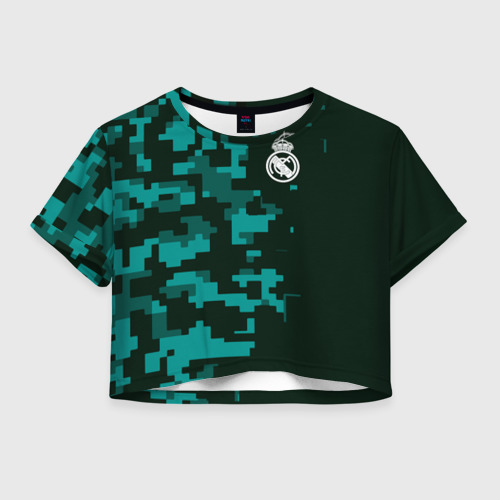 Женская футболка Crop-top 3D Real Madrid 18 Military Sport