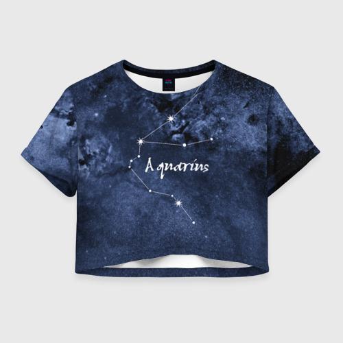 Женская футболка Crop-top 3D Водолей (Aquarius)