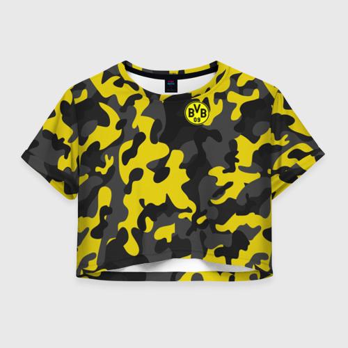 Женская футболка Crop-top 3D Borussia 2018 Military Sport
