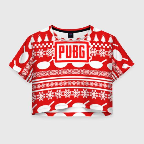 Женская футболка Crop-top 3D PUBG Новогодняя защита