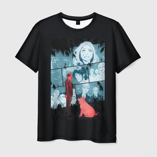 Мужская футболка 3D Чёрное зеркало