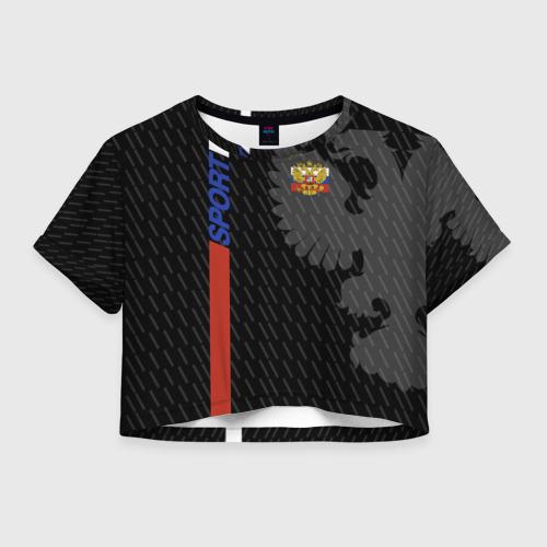 Женская футболка Crop-top 3D RUSSIA - Black Collection
