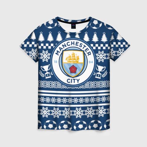 Женская футболка 3D Manchester city Новогодний
