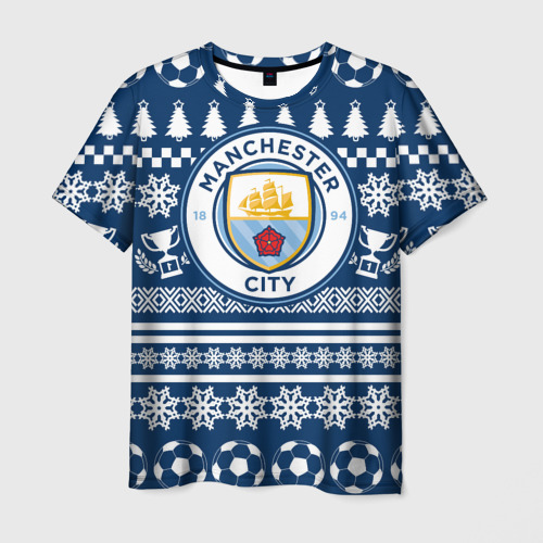 Мужская футболка 3D Manchester city Новогодний