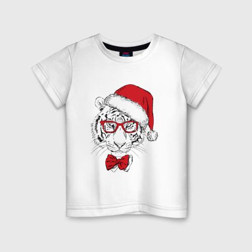 Детская футболка хлопок Тигр Санта Клаус