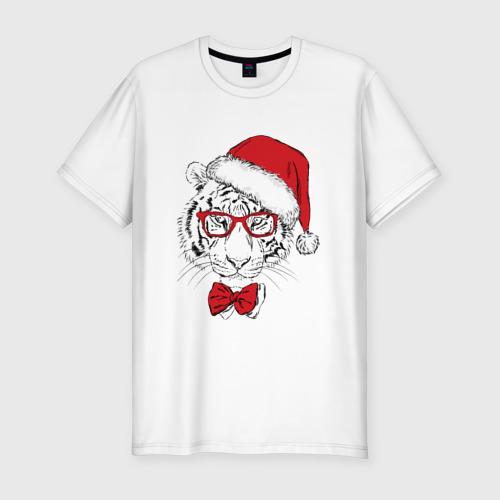 Мужская футболка хлопок Slim Тигр Санта Клаус