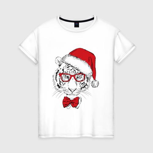 Женская футболка хлопок Тигр Санта Клаус