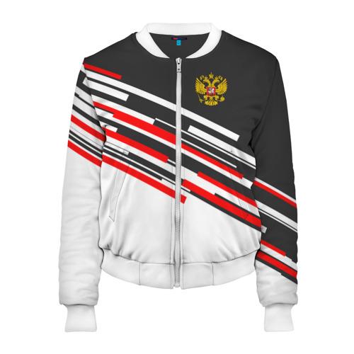 Женский бомбер 3D RUSSIA - Black and White
