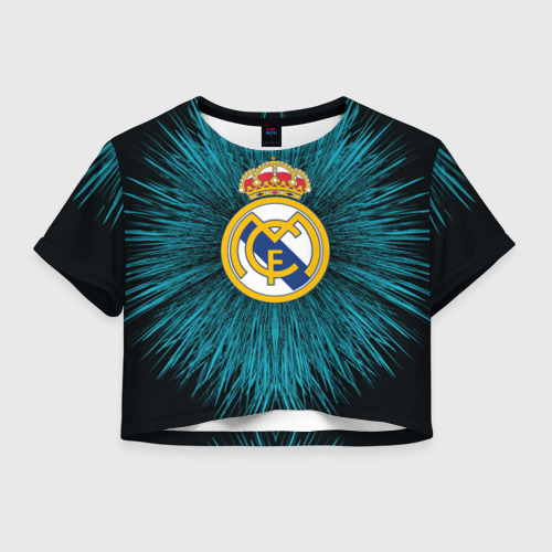 Женская футболка Crop-top 3D Real Madrid 2018 Abstract