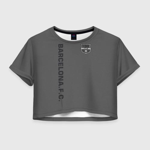Женская футболка Crop-top 3D FC Barca 2018 Vintage