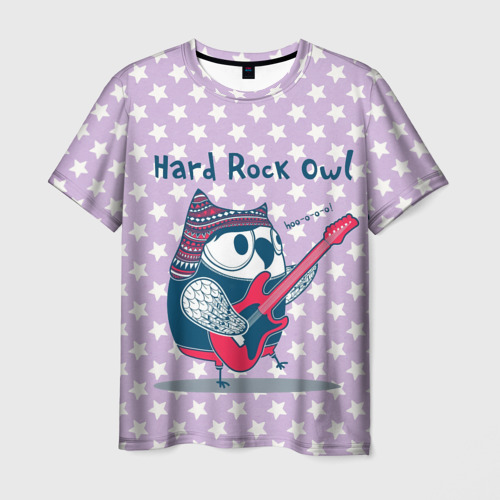 Мужская футболка 3D Hard rock owl