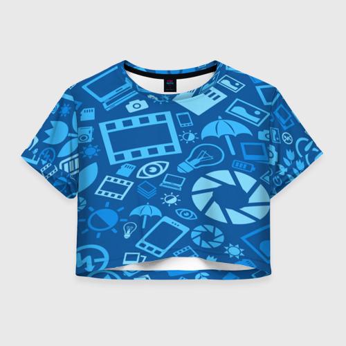Женская футболка Crop-top 3D Фотограф pattern