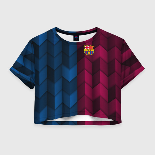 Женская футболка Crop-top 3D FC Barca 2018 Creative uniform