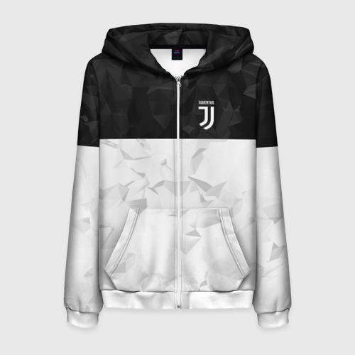 Мужская толстовка 3D на молнии Juventus 2018 Black and White